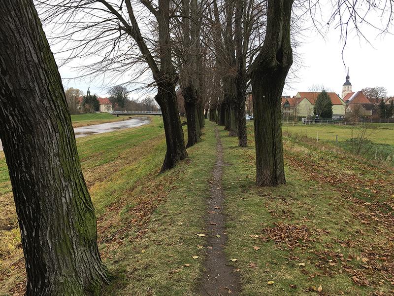 Elsterdamm, Blick auf Elsterschloss und Marienkirche