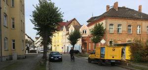 Ruhland, Alte Post mit Elektrofahrzeug