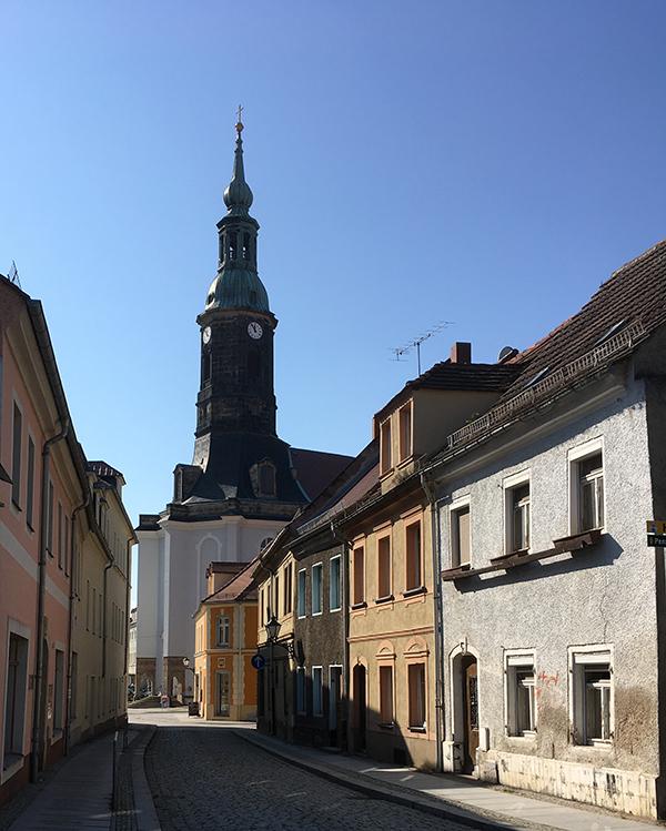 Töpfergasse, Blick zur Kirche